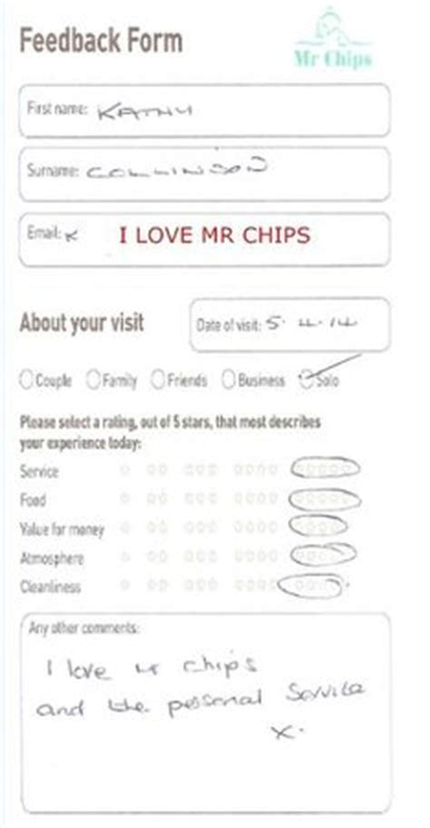 guest feedback form for restaurant customer feedback form picture of mr chips of louth fish