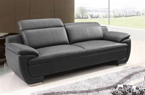 canapé cuir italien haut de gamme canapé 3 places en cuir italien rimini noir mobilier privé