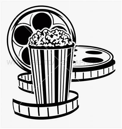 Popcorn Movie Reel Clip Clipart Film Transparent