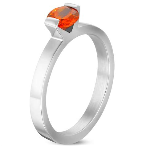 6mm stainless steel compression 173 solitaire engagement band ring w opal orange cz