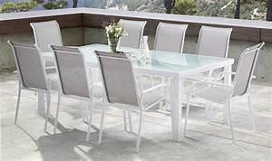 Salon De Jardin Blanc : salon de jardin en aluminium blanc et textilne gris ~ Teatrodelosmanantiales.com Idées de Décoration
