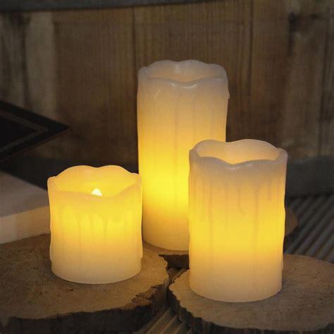candele con led set 3 candele in cera con luce led tremolante bianco caldo