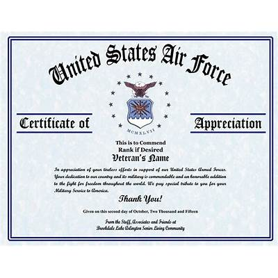 Explore veterans appreciation certificates todays homepage air force certificate of appreciation template military yadclub Images