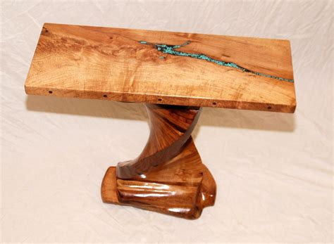 mesquite l with turquoise inlay handmade mesquite table with turquoise inlay by mcnitt