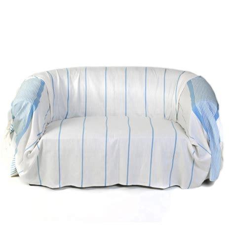 jete canape jeté de canapé en coton dim 2 x 3m blanc et bleu c1