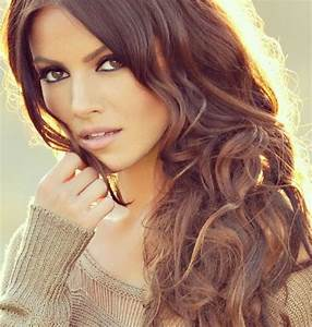 Medium brown with caramel highlights and sultry layers ...