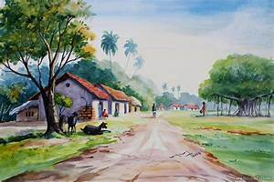 Indian Village Watercolor Landscape Paintings - Best ...
