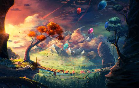 Anime, Artwork, Fantasy Art, Mountain, Bridge, Balloons