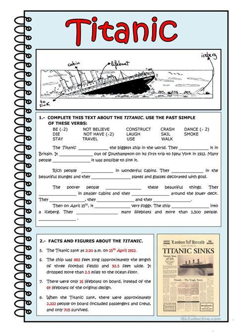 esl titanic worksheets