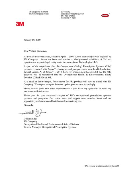 change letter template company