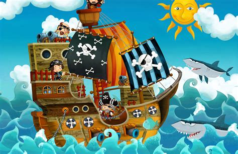 Ship Cartoon by Cartoon Pirate Ship Wall Mural Muralswallpaper Co Uk