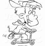 Scooter Coloring Riding Boy Cartoon Trick Outlined Toonaday Vecto Rs sketch template