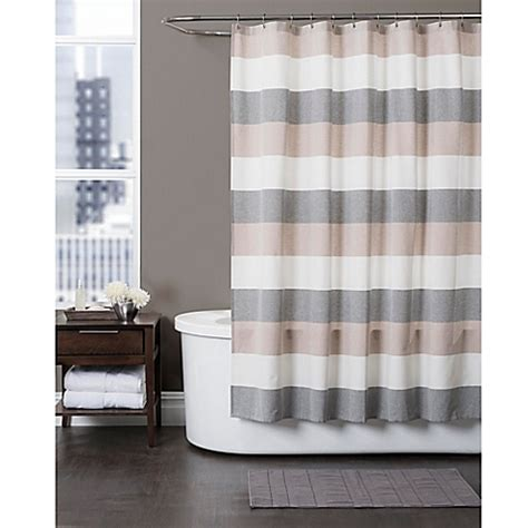 baltic linen yarn dyed strata striped shower curtain bed