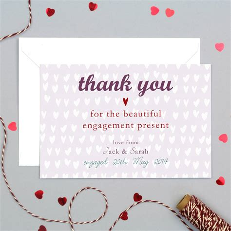 Thank You For The by Personalised Engagement Or Wedding Thank You Card By Molly