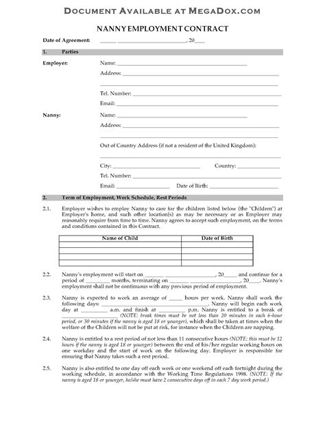 UK Nanny Employment Contract | Legal Forms and Business Templates | MegaDox.com