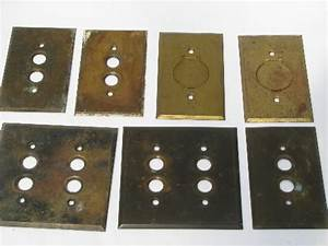 antique brass push-button light switch plates, vintage ...
