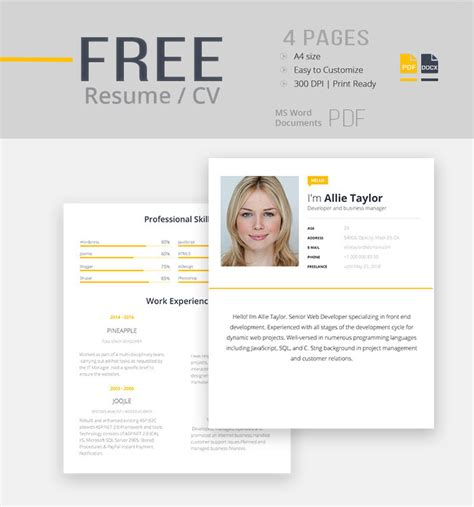 free resume cv template for modern look