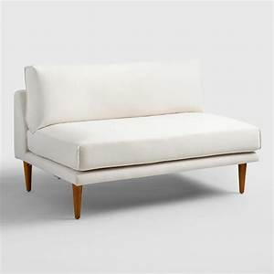 White 2 piece armless sectional sofa for Sectional sofa no arms