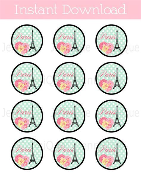 printable paris theme cupcake toppers  jenniqueprintshop