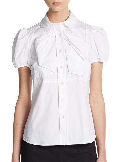 white pan collar blouse valentino puff sleeve pan collar blouse in white