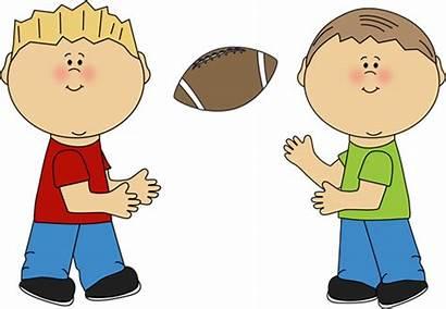Clipart Football Boys Throwing Clip Boy Playing
