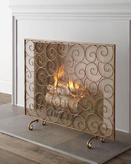 Golden Swirl Fireplace Screen