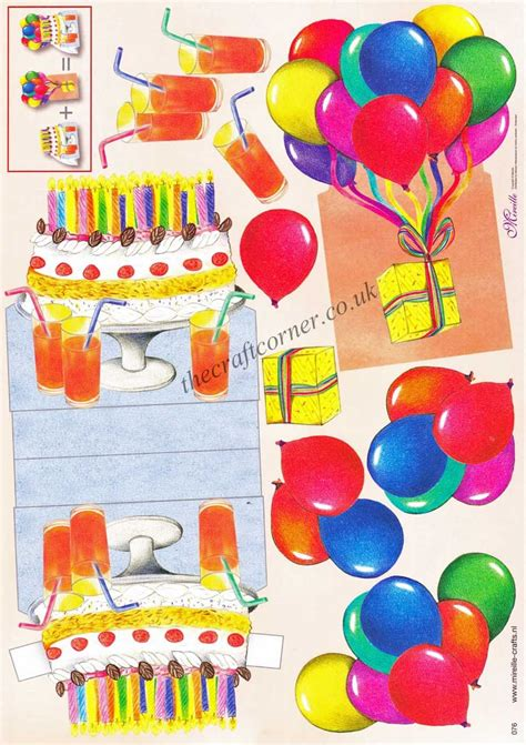 birthday cake  balloons stand   decoupage sheet