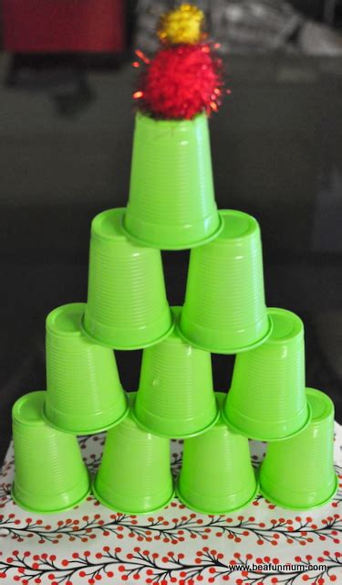 christmas craft plastic cup christmas tree tower be a
