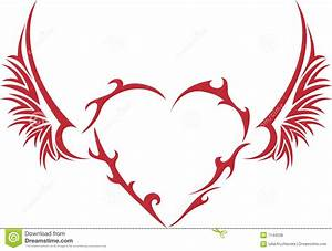 Tribal Heart With Wings Royalty Free Stock Photos - Image ...