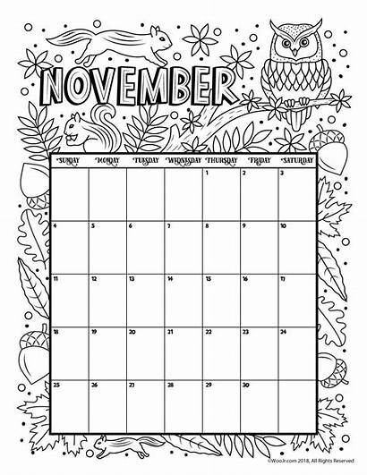 Calendar Coloring Printable Template November Kalender Adults