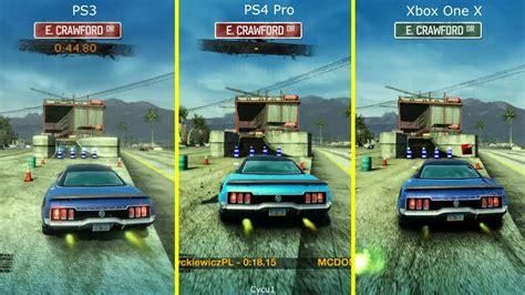 burnout paradise ps4 burnout paradise ps3 vs ps4 pro vs xbox one x graphics