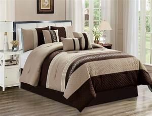 Unique, Home, Michri, 7, Piece, Comforter, Set, Brown, Striped, Bed