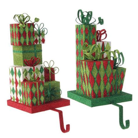 raz glittered present christmas stocking holder set of 2
