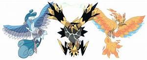 Mega legendary birds concept : pokemon