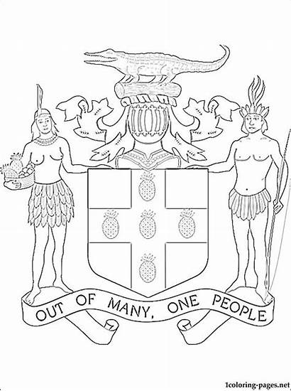 Jamaica Coloring Pages Coat Arms Jamaican Drawing