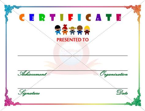 Free Printable Childrens Certificates Templates by Certificate Template Certificate Templates
