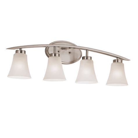 home depot rubbed bronze bathroom light fixtures shop portfolio lyndsay 4 light 30 16 in satin nickel bell