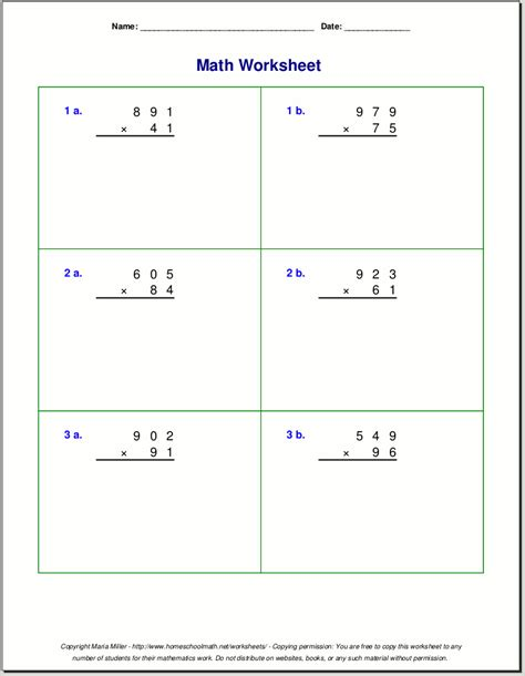 fifth grade math worksheets two digit multiplication