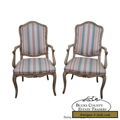 vintage pair of louis xv style painted arm chairs