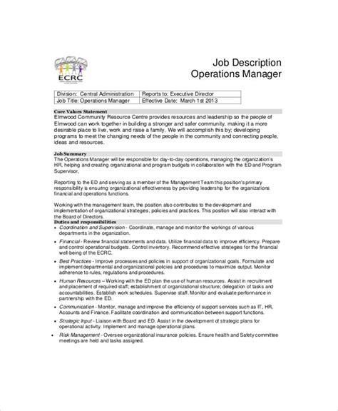 Operations Coordinator Description by Position Description Title Education And Operation