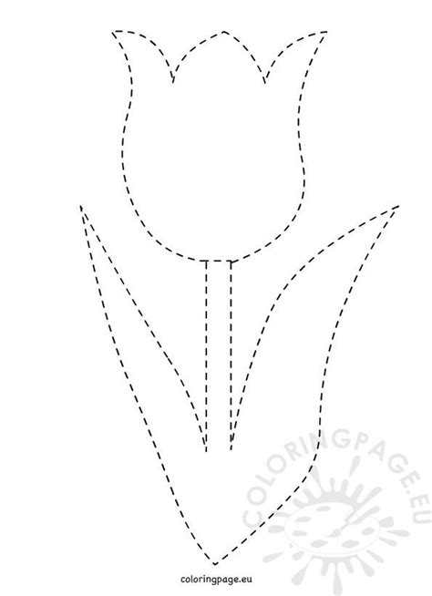 traceable tulip template coloring page
