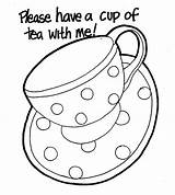 Tea Coloring Cup Pages Teapot Coffee Printable Drawing Template Mug Colouring Cups Elvis Presley Sheets Boston Teacups Saucer Drinking Iced sketch template