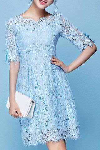 ladylike scoop collar  sleeve pure color lace dress