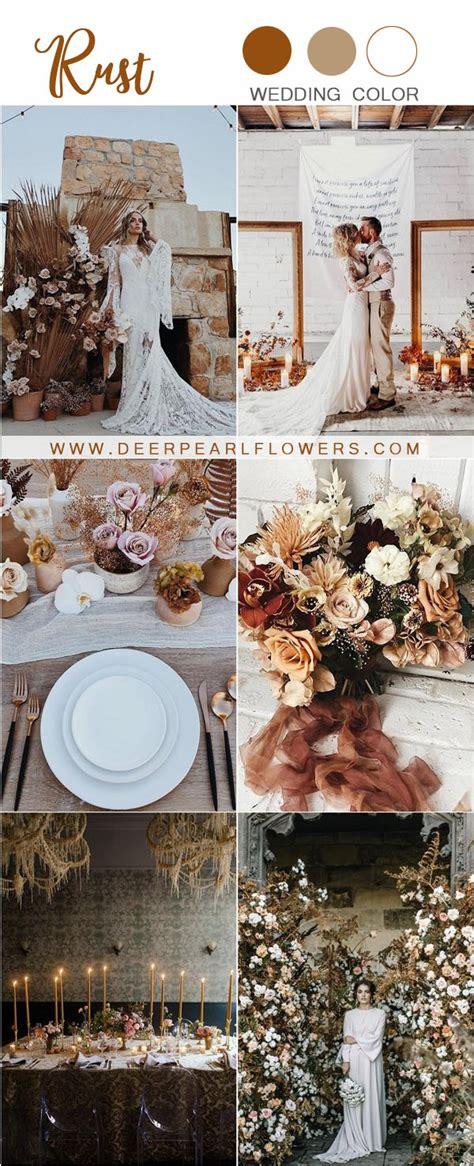 rustic rust wedding color ideas deer pearl flowers
