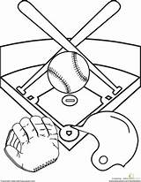 Baseball Diamond Sports Coloring Pages Worksheet Field Education Printable Kindergarten Activities Fun Sheets Worksheets Drawing Party Template Printables Stadium Ball sketch template