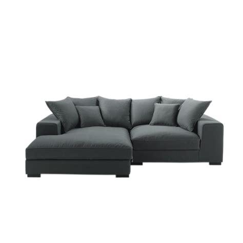 canapé d angle en canapé d 39 angle 4 places en coton gris bruges maisons du