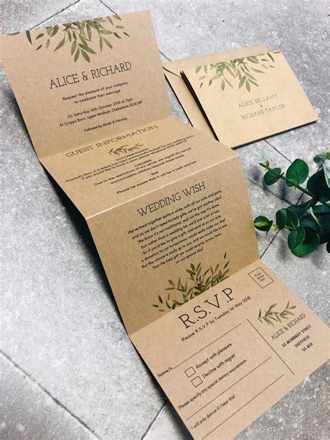 concertina fold alice botanical greenery wedding