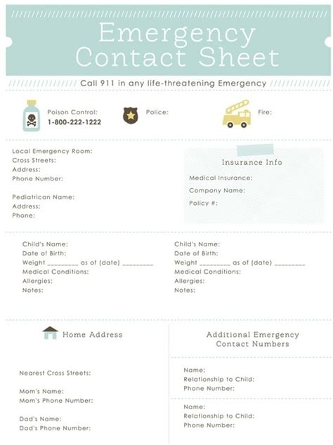 a list of important contacts and personal information 7