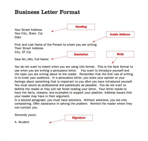 standard business letter format templates