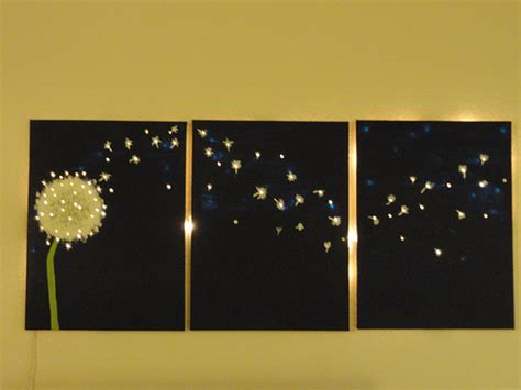three panel dandelion wall that lights up offbeathome